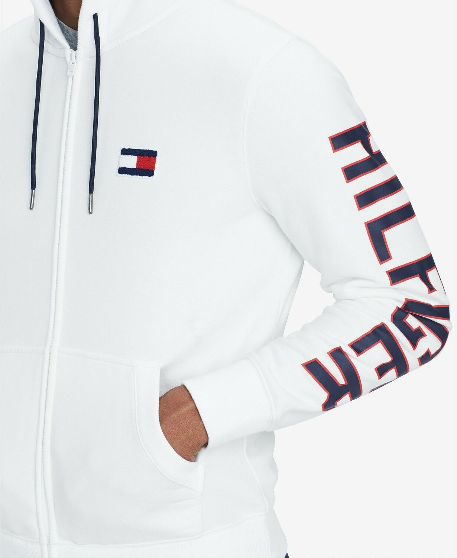 Tommy Full Hilfiger Uomo's Snow bianca Logo Fleece Lined Full Tommy Zip Hoodie ec8518