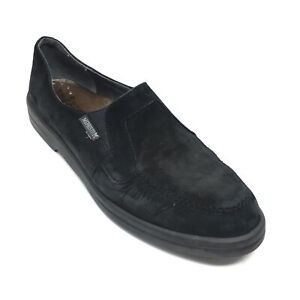 Women-039-s-Mephisto-Cool-Air-Wedge-Loafers-Shoe-Size-10-M-Black-Leather-Casual-AB12