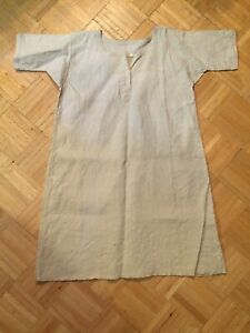 19th-Century-Heavy-Linen-Long-Work-Shirt-Smock-Simple-Form-For-Rural-Workers