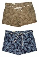 Sonoma Womens Mid Rise Shorts Size 16 Blue or Green Palm Print Rope Belt NEW $32