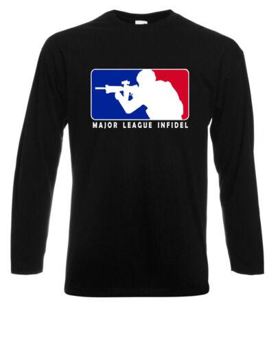 Major League Infidel Military USMC Marines Long Sleeve Black T-Shirt Size S-3XL