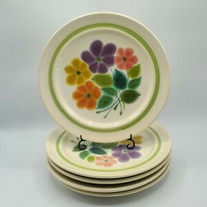 Set-of-5-Vintage-70s-Franciscan-FLORAL-Earthenware-Dinner-Plates-10-1-2-034-NICE