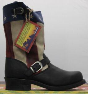 Durango-Homme-27-9cm-Soho-Mode-de-Vie-Noir-Patriotique-Machiniste-Bottes