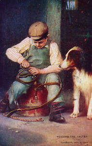 Antique-Postcard-1907-034-Mending-the-Halter-034-Art-Series-54-Undivided-Back-A21