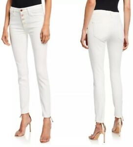 NWT-MOTHER-The-Pixie-198-Mid-Rise-Skinny-Jeans-w-Button-Fly-Size-26-Ivory