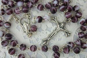 Catholic-Rosary-PURPLE-Swirl-6mm-Glass-Beads-Italy-Miraculous-medal-center-NOS