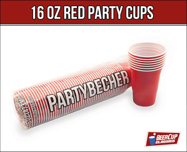 Red BeerCup's 16 Oz  Rote Party Becher Beer Pong Cups im US-College Style