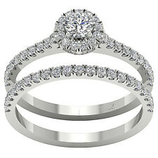 Halo Engagement Bridal Ring Set I1 G 1.01 Ct Real Diamond 14K Gold Appraisal