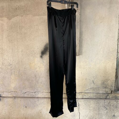 Vintage 1930s 1940s Black Silk Satin Pants Trouser