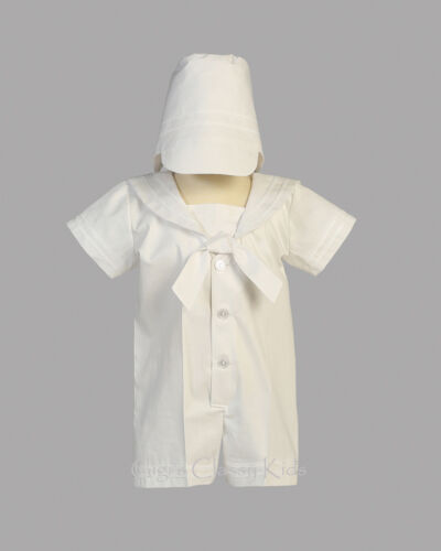 Infant Baby Boys White Nautical Sailor Romper Suit Outfit Christening Baptism