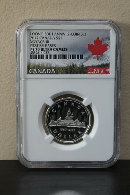 2017 Canada Voyageur 1st Releases Loonie 30th Anniv S$1 NGC PF70
