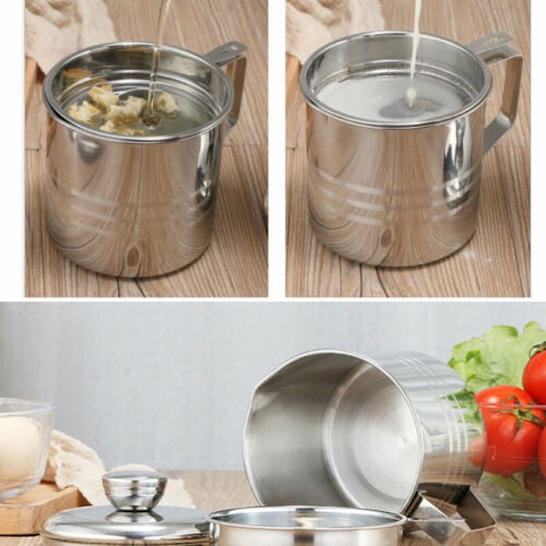 1.2L Stainless Steel Oil Strainer Pot Container Jug Storage Can filter Tool