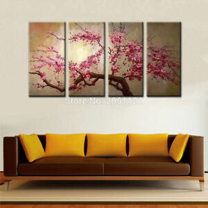 LMOP63-4pcs-100-MODERN-ABSTRACT-Cherry-blossom-OIL-PAINTING-CANVAS-ART