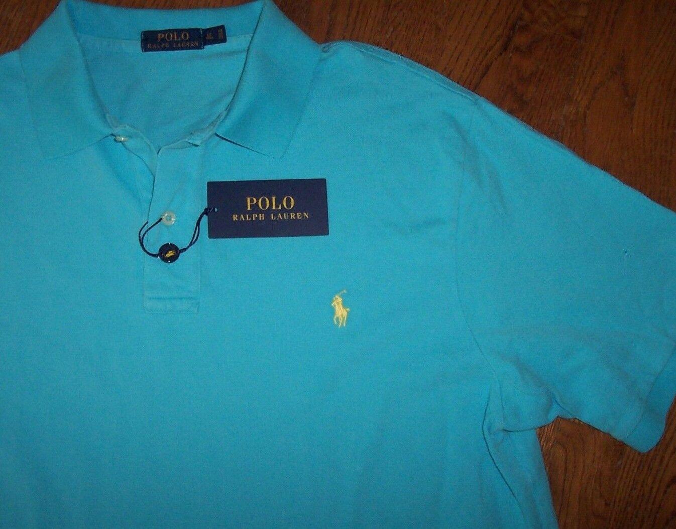 NWT Polo Ralph Lauren TRUE AQUA bluee Mesh Knit Shirt Men's XLT Tall Yellow Pony