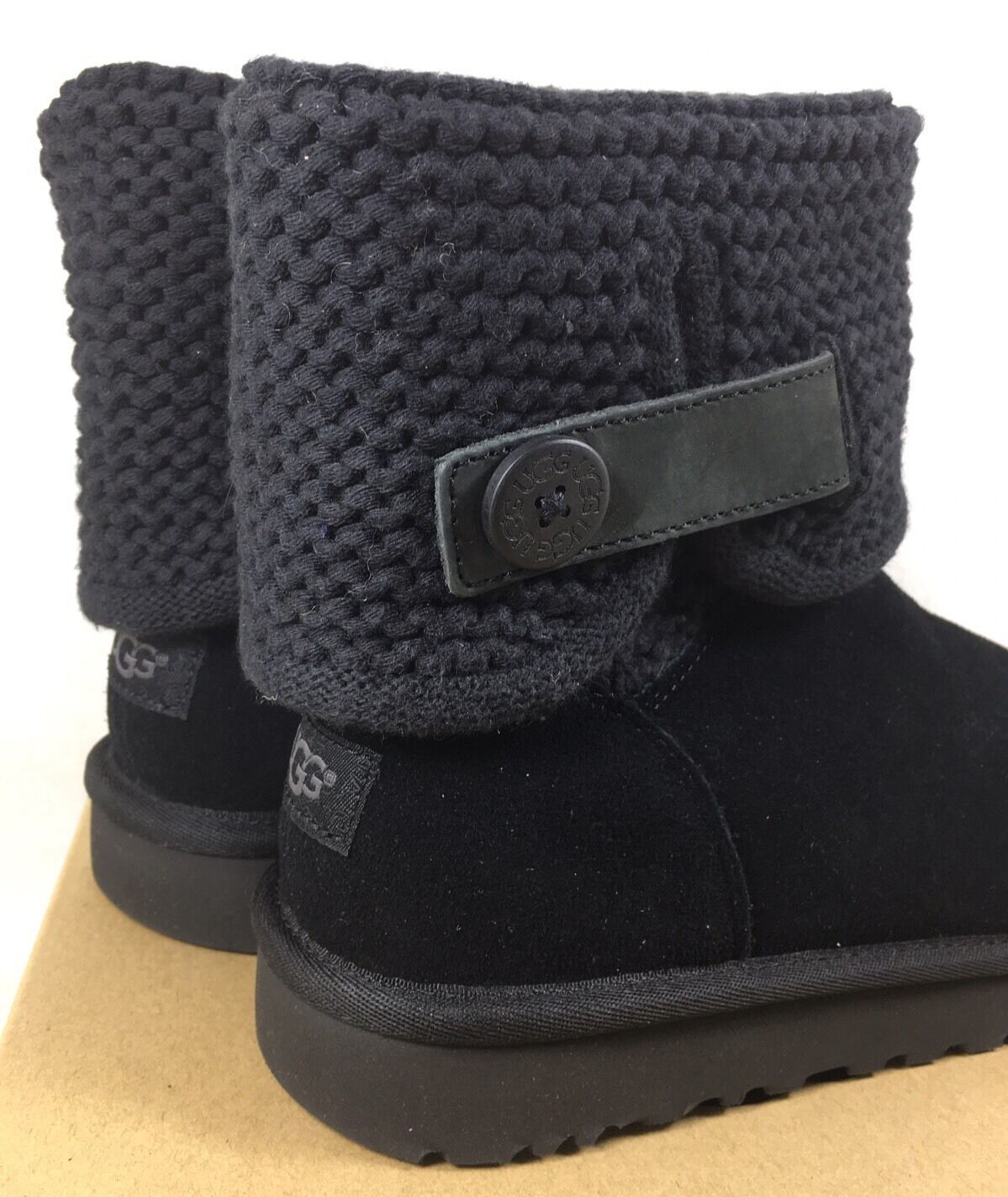 13fd0a77fb8 UGG Australia Women's Shaina Black Knit Boots NEW 1012534 Cuff Ankle Bootie