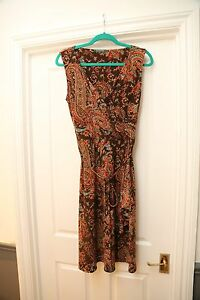 RALPH-LAUREN-Women-039-s-brown-sleeveless-dress-with-beautiful-pattern-size-S