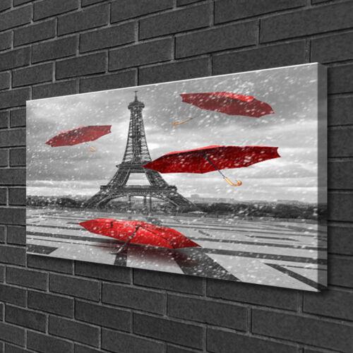 Leinwand-Bilder 100x50 Wandbild Canvas Kunstdruck Eiffelturm Regenschirm Paris