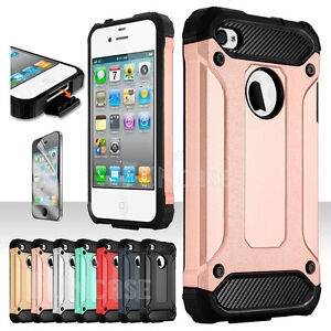 For-Apple-iPhone-4-4S-Rugged-Shockproof-Rubber-Matte-Silicone-Armor-Case-Cover