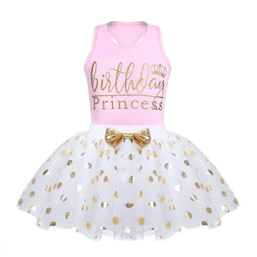 Toddler Girl Kid Dress Outfit Birthday Princess Tutu Skirt+Top Shirt Clothes Set