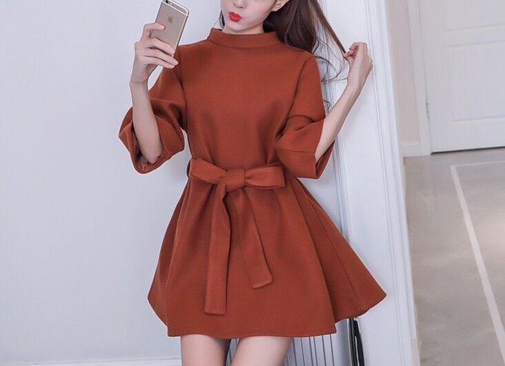 New Women girl Fashion Korean Fall Dress A Line Loose Bowknot Casual Plain