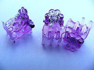 Teddy für Minis Glitzer Haarklammern Zöpfe 3 St violett