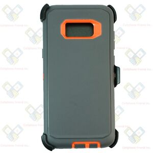 brand new eef54 c9c41 Details about Gray Orange For Samsung Galaxy S8 Plus Defender Case Cover  [Clip Fits Otterbox]