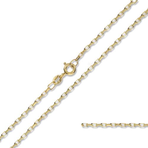 375 9CT Gold 40.6cm 45.7cm 50.8cm Rund Diamantschliff Erbserkette Link Halskette