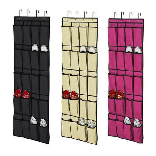 20 Poches Sur Porte Chaussures Hanging Sac Chaussure Organisateur Stockage Rack Hanger