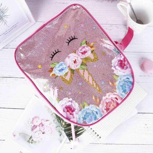 3pcs//Set Womens Girls Unicorn Backpack Lunch Bag Pencil Pen Bags Rucksack Gifts
