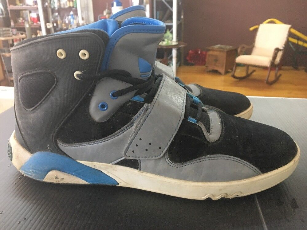 MEN'S ADIDAS ROUNDHOUSE MID Black Blue Gray Leather Trainers G59829 Comfortable Cheap and beautiful fashion