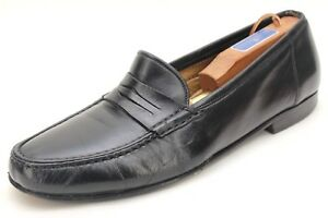 Santoni Black Leather Penny Loafers Size 9.5 Made In Italy