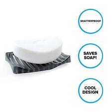 Plastic Soap Dish: Wavy Soap Saver for Bathroom Countertops in Dark Gray