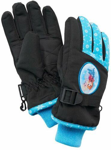 Disney Frozen Girl Anna /& Elsa Ski Gloves Blue Black One Size