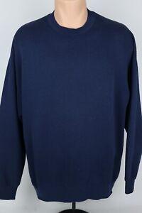 Vintage-Jerzees-Adult-Mens-XL-Solid-Plain-Navy-Blue-Crewneck-Sweatshirt-USA-Made
