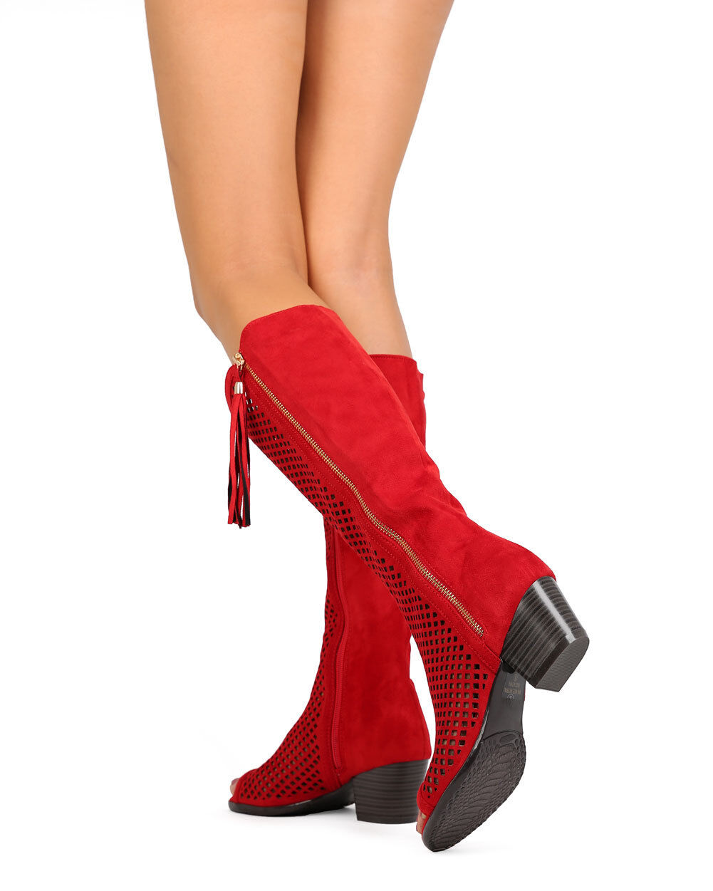 New Women Nature Breeze Cresta-02Hi Faux Suede Perforated Chunky Heel Boot