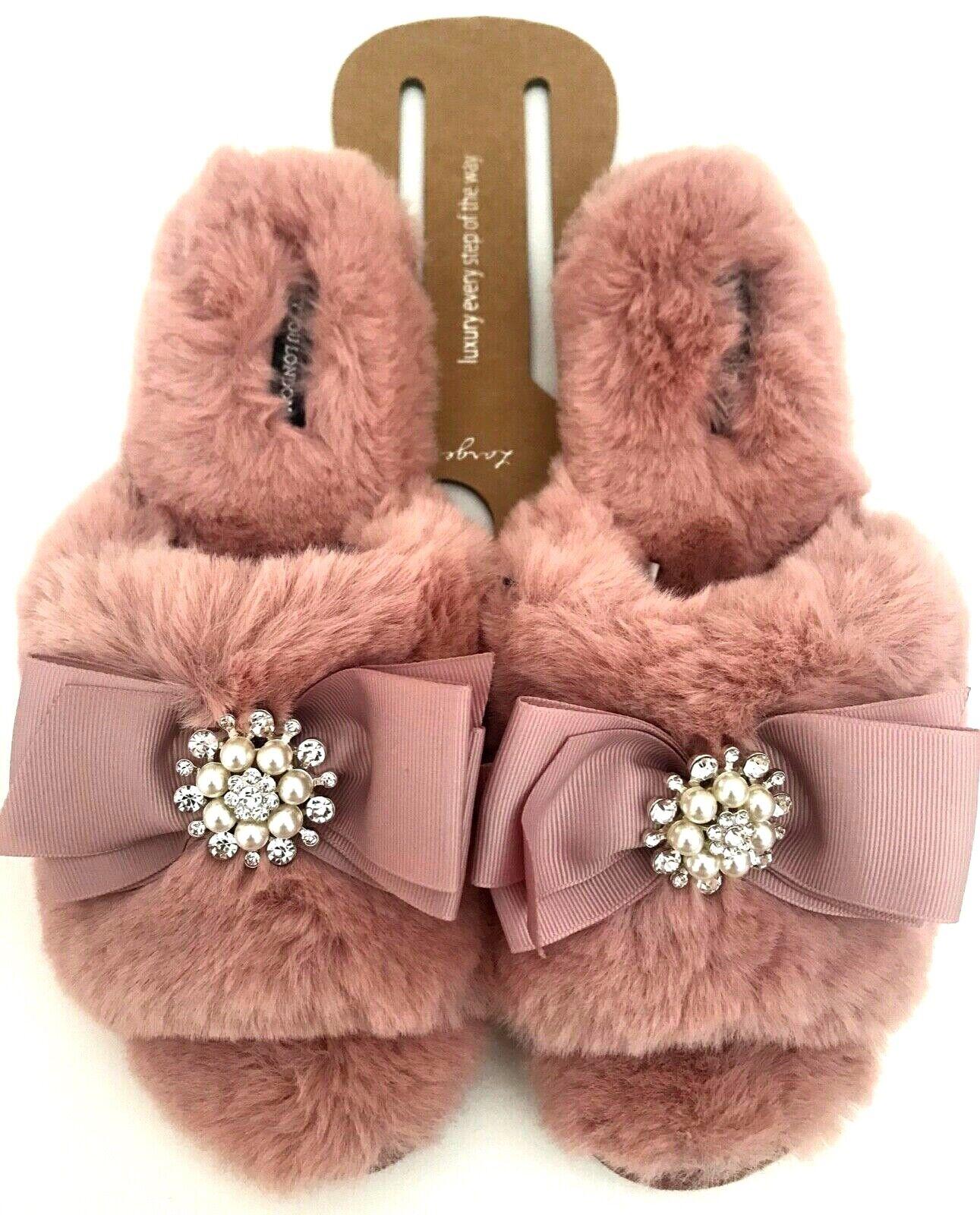 Pretty You London Elegant Women Slip-On Slippers Jeweled, Brides, Mom's, PINK