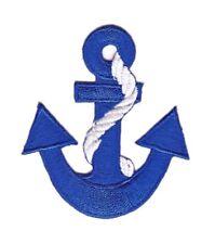 bf47 Anker Blau Rockabilly Anchor Tau Seil Aufnäher Bügelbild Flicken 6 x 7 cm