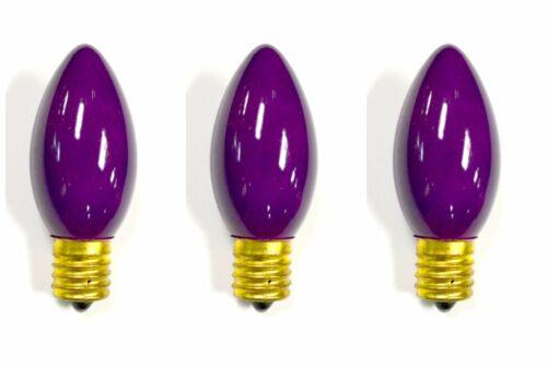 3-PK NEW C9 Trad/'l INCANDESCENT Light BULB Christmas Yellow Teal Purple Pink