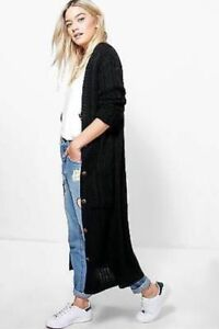 Ladies-V-Neck-Button-Cable-Knitted-Full-Length-Long-Sleeve-Maxi-Winter-Cardigan