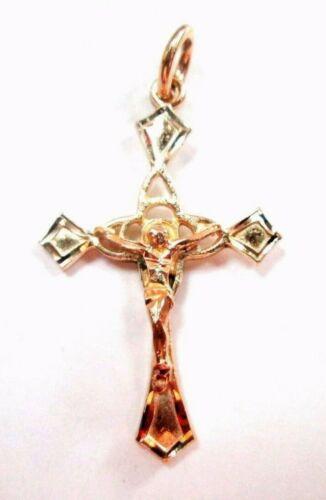 unique Nice 14K Yellow Gold Cross Pendant w/ Jesus