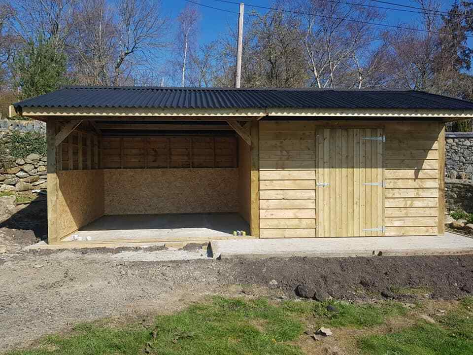 7.2 x 3.6m car port , double field shelter , log store , garden shed. NO VAT