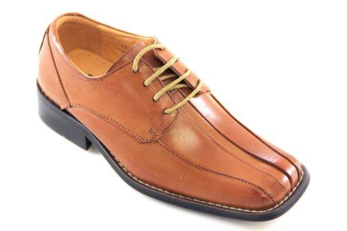 La Milano Boy/'s Tan Leather Oxford Dress Shoes Style# AT6100