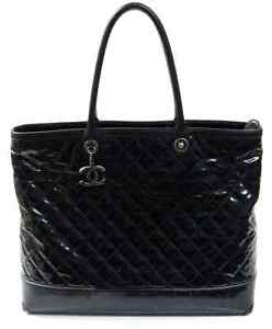 f0ab960da3f0 Image is loading 4150-Chanel-Black-Striated-Quilted-Coated-Canvas-Large-