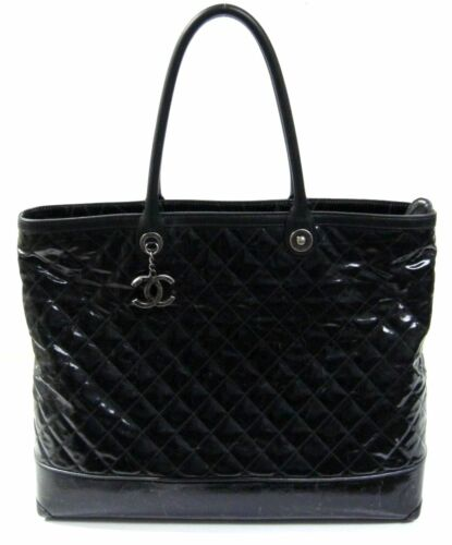 f7e5652d39e9 4150-Chanel-Black-Striated-Quilted-Coated-Canvas-Large-. Chanel Black  Striated Quilted Coated Canvas Large Rue Cambon Tote Bag