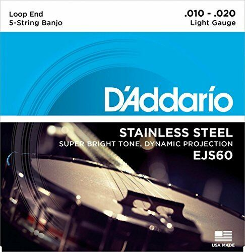 9-20 Light D/'Addario EJS60 5-String Banjo Strings Stainless Steel