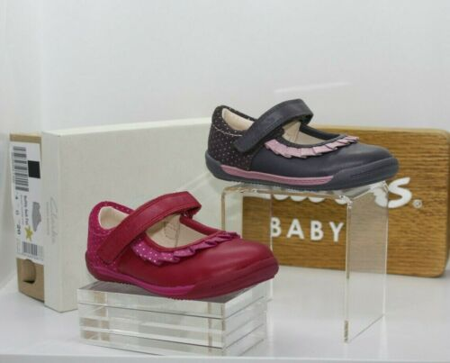 Clarks First Infant Girls Softly Stef Leather Casual Shoes Variou Sizes /& Colour
