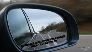 """2 Pk A**holes in mirror are larger than they appear Sticker Decal funny JDM 4.5/"""""""