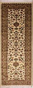 Rugstc-2-5x8-Pak-Persian-Ivory-Runner-Rug-Hand-Knotted-Floral-with-Silk-Wool