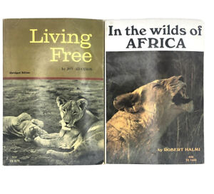 Living Free, In The Wilds Of Africa 2 Vintage Lion Scholastic PB TX1648 TX979