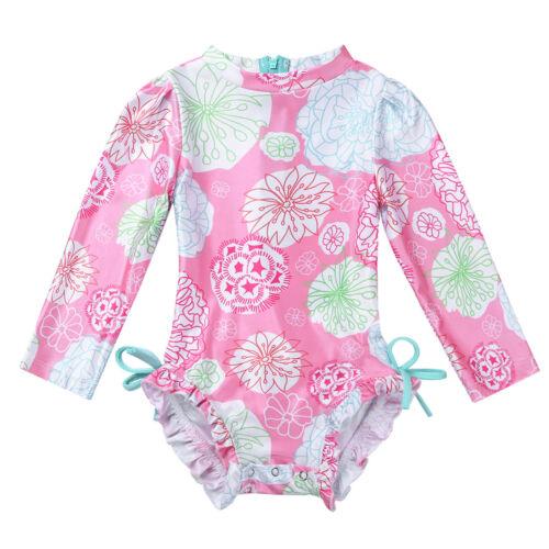 Kids Long Sleeves UPF 50 Swimsuit Girls Rash Guard Swimwear Bathing Beachwear